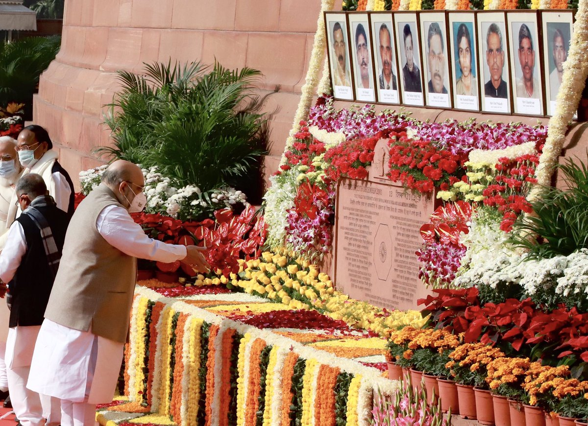 Paid floral tributes to the brave martyrs who laid down their lives while protecting our parliament in 2001 terrorist attack.  I bow to their exemplary courage and sacrifice.