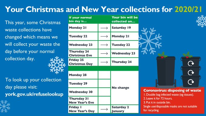 This year, some christmas waste collections have changed. Check you collection day at www.york.gov.uk/refuselookup . Coronavirus disposing of waste: Double bag infected waste (for example tissues), leave it for 72 hours, put it outside your bin. Do not recycle single-use face masks.