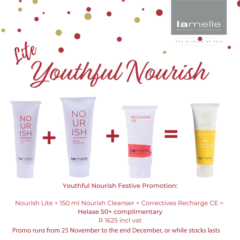 Purchase a Nourish Revitalize Lite, Nourish Daily Cleanser 150ml & Correctives Recharge CE Complex & receive a Helase Photo-Repair Cream SPF 50 free . Tap to shop. #SkinRenewalSA #skin #beauty #skincare #combination #oily #Lamelle #OnlineSkinShop #SkinShop