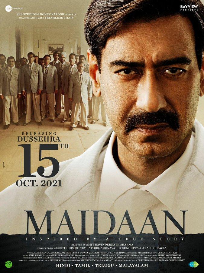 The football based #AjayDevgn 's #Maidaan in theatres on Oct 15th #dussehra 2021.  Shoot commences Jan 2021.  @ajaydevgn #Maidaan2021