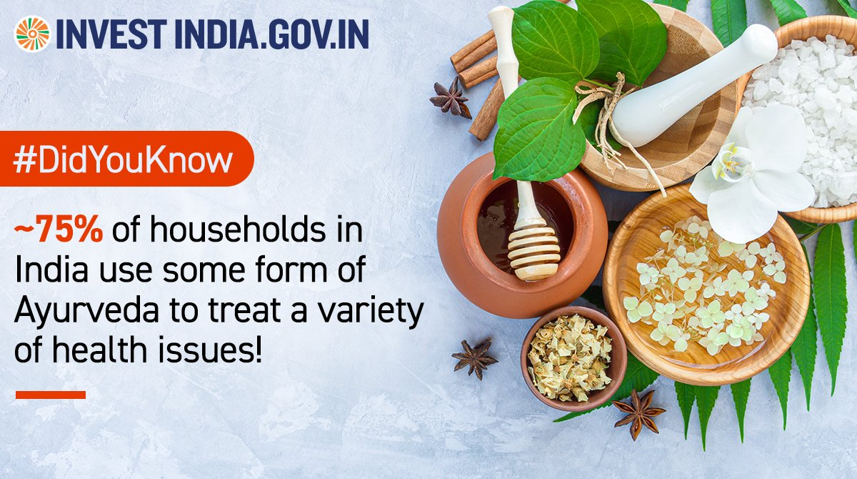 #InvestInIndia  The ancient system of holistic healing, #Ayurveda, is a rapidly growing industry in #NewIndia! 🌱🍃 Explore more 👉    #Ayurveda4Health #AyurvedaDay