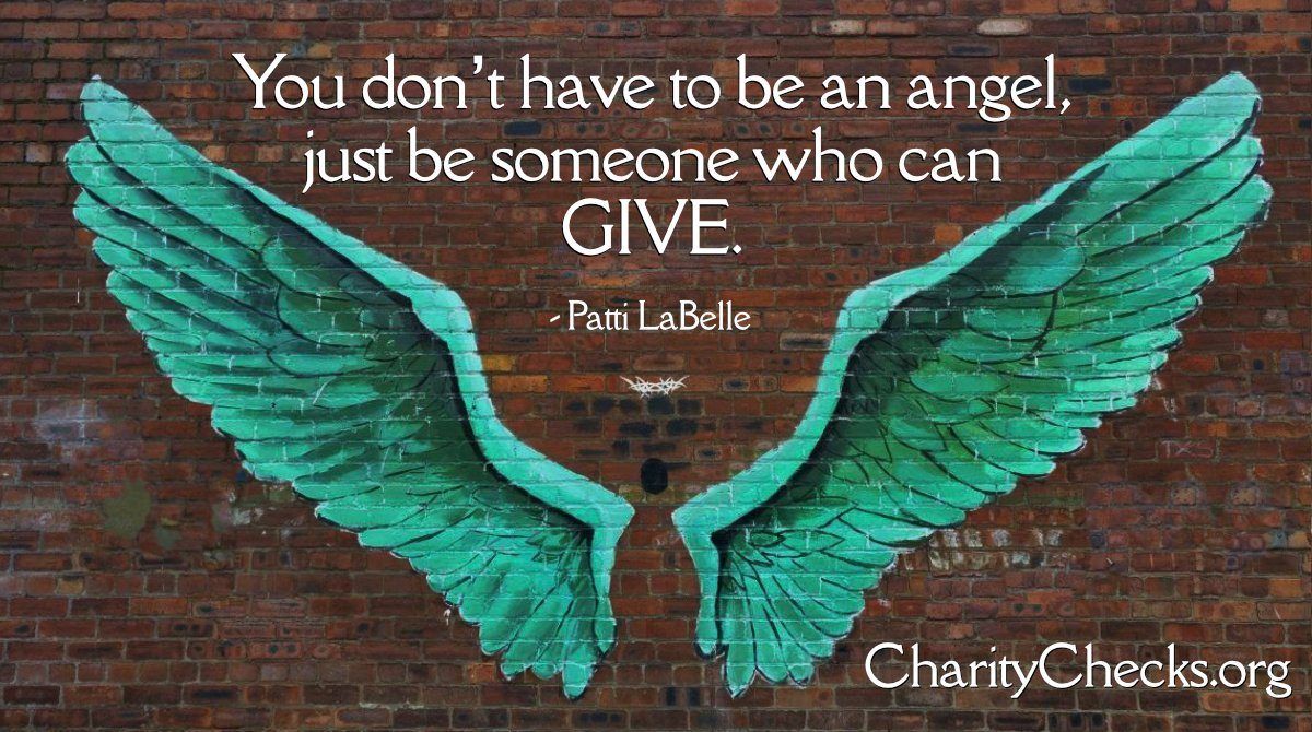 You don't have to be an Angel, just be someone who can GIVE!!   Charity Checks multiplies giving: people you give a Charity Check to give it to the charity of their choice! Please RT!  #RedefineGifting #ChristmasGifts #GiftsForKids #EmployeeGifts #presents