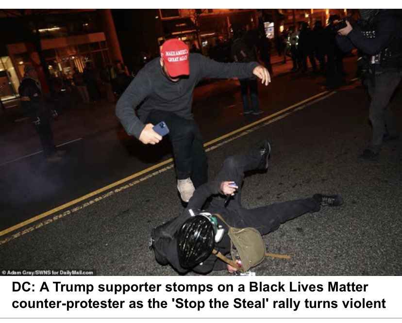 This is Making America Great Again? Gtfo. Literal picture depiction of the violence behind Trump's reign. Still think proud boys should stand by @realDonaldTrump  #DCProtests #ThingsWeShouldThankTrumpFor  #isitJanuaryYet #unreal