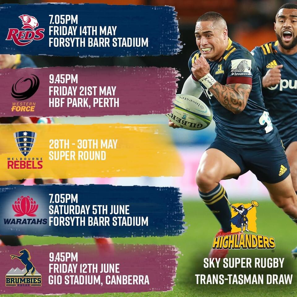 Sky Super Rugby Trans-Tasman draw confirmed 🔒 2 massive games at Forsyth Barr Stadium against Queensland Reds and Waratahs 🏠  Secure your Club Membership NOW to guarantee the best seats under the roof 👏 https://t.co/jq8hvOdb2U  #WeAreHighlanders https://t.co/UQ4V9K6Rqj