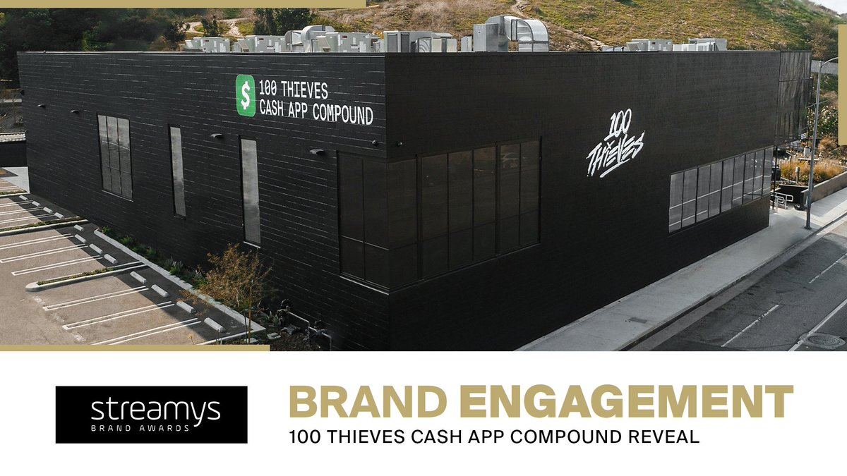 The 100 Thieves @CashApp Compound Reveal has won Brand Engagement of the Year at the @Streamys!  Shoutout to Cash App and our entire community for always supporting us and our vision. Thank you all so much for this incredible award. #100T #Streamys