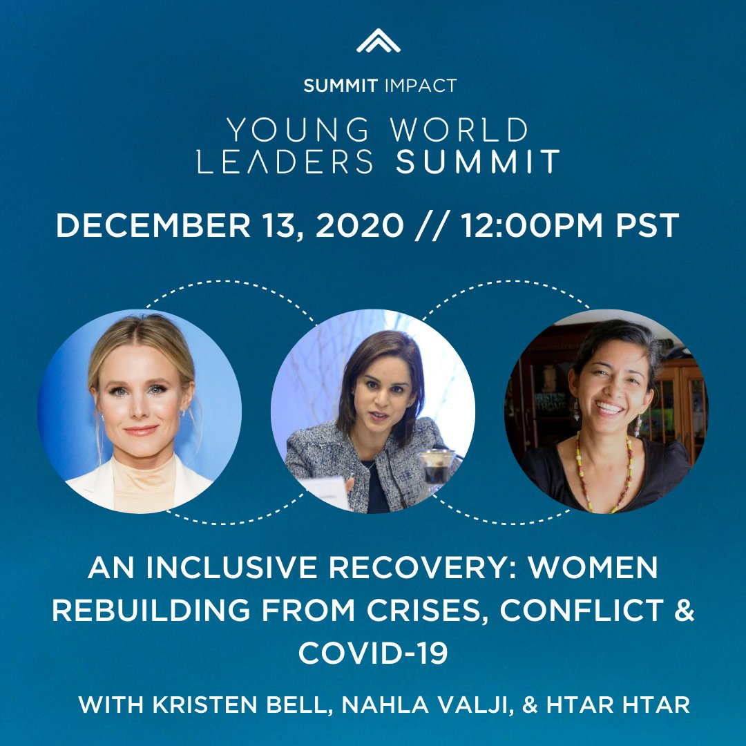 Join @wphfund Global Advocate @KristenBell, Senior Gender Advisor to @UN SG @nahlav & our partner Htar Htar of @AkhayaWomen at today's Young World Leaders @Summit as they discuss the need to support women who build peace!  📆13 Dec 2020 ⏰3:00 PM EST 🔗https://t.co/VGikNy82cO https://t.co/UEKufFjKtm