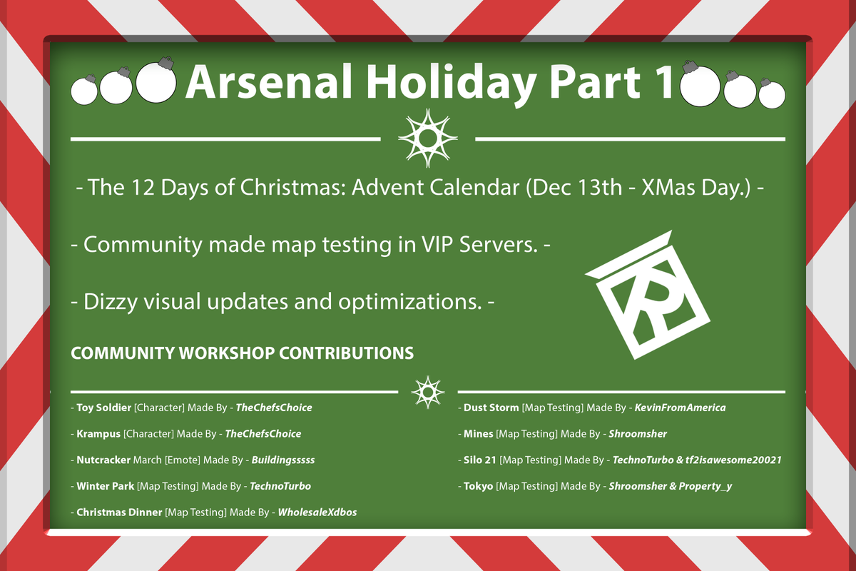 Rolve On Twitter Arsenal Received The First Part Of Its Holiday Update The 12 Days Of Christmas Advent Calendar Join Every Day From December 13th Through Christmas To Earn Free Items Or