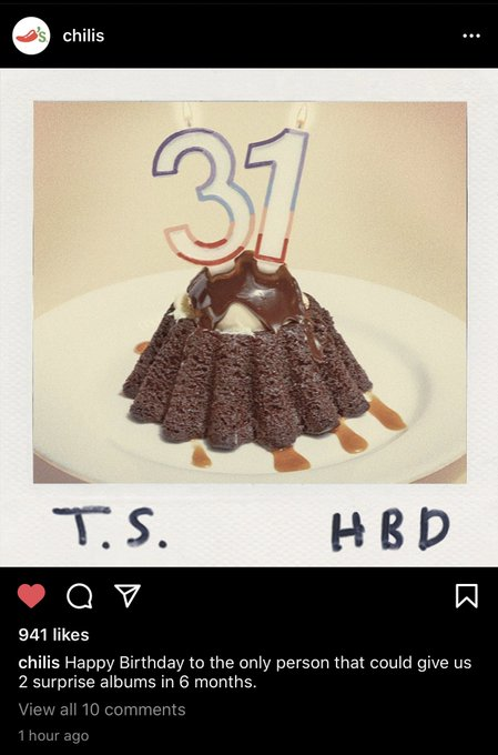 Chili s just wished Taylor Swift happy birthday.