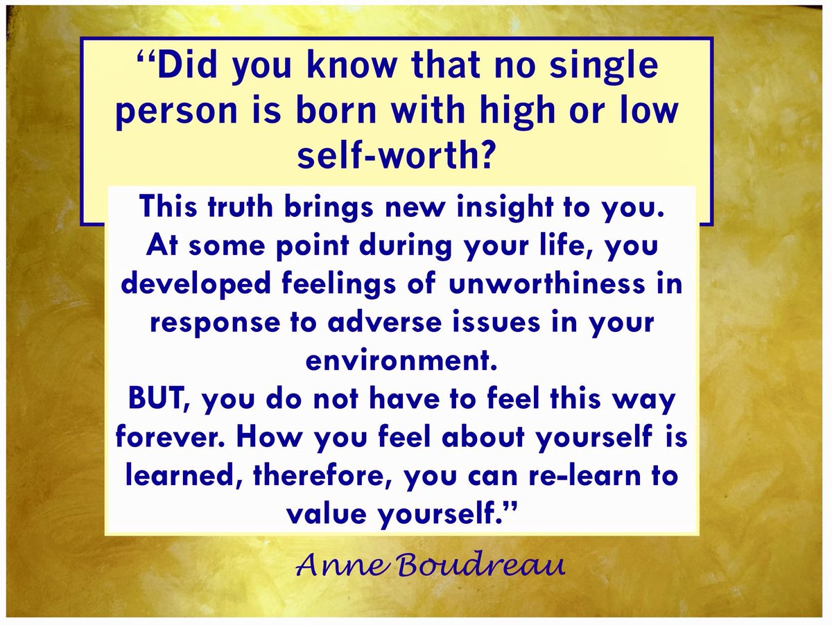No one is born into the world with low self-value. But, think about it, if something is learned, it can be unlearned and new knowledge and take its place. #selfworth #selfconfidence #selfacceptance #love #selflove #selfdiscovery #journey #lifeisshort #confidencecoachAnneBoudreau