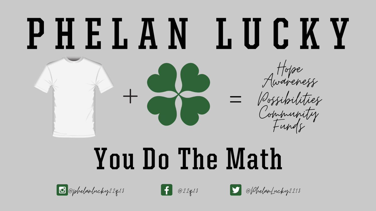 3 weeks til the 8th annual #phelanlucky campaign kicks off & we can't wait 4 you to see what we have in store.  Purchasing #yournewfavoriteshirt for St. Pat's Day provides hope, awareness, possibilities, community & funds to an incredible group of families worldwide. Stay tuned!