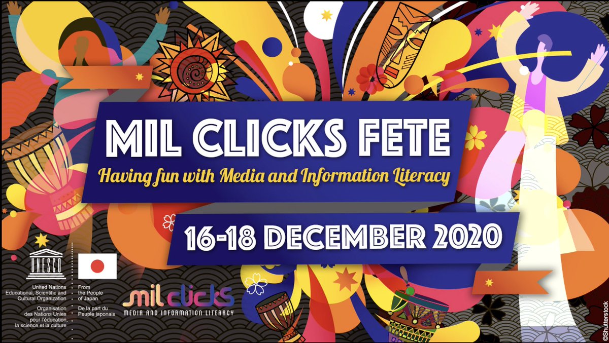 Come enjoy the MIL CLICKS FETE: - Like & share the post - Follow UNESCO MIL CLICKS on FB, IG & Twitter - Tag 2 people & make sure they follow us. - If you are an artiste, post your MIL content on your social media and tag @MILCLICKS  Don't forget to use the hashtag #MILCLICKSFETE