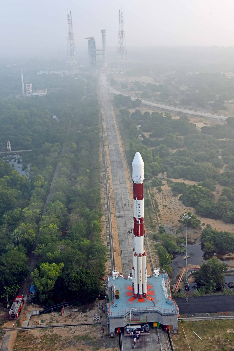 #PSLVC50 carrying #CMS01 in transit to the launch pad in Sriharikota.  Launch scheduled at 1541 hrs IST on December 17