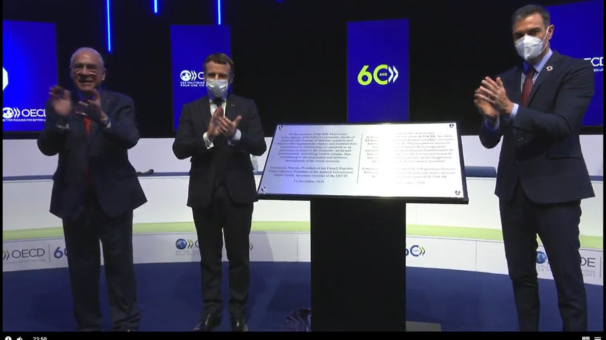 Together @A_Gurria, @EmmanuelMacron and @sanchezcastejon open the the #OECD 60th Anniversary event #OECD60 https://t.co/xniFrcyyQI