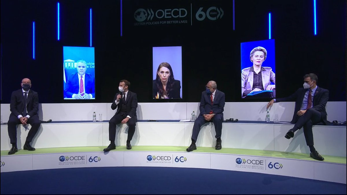 World Leaders join together to discuss priorities to support a strong and sustainable economic recovery from #COVID19  #OECD60 @sanchezcastejon @IvanDuque https://t.co/FpepTwMxA4