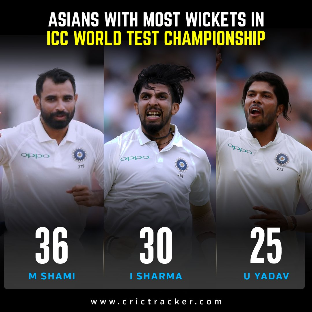.@MdShami11 has taken the most wickets in the World Test Championship among the Asian bowlers. #Cricket #MohammedShami #IshantSharma #UmeshYadav #CricTracker