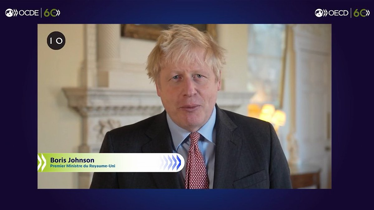 """''The co-operation and the joint working that's been made possible by the OECD is really, hugely important""""  British Prime Minister Boris Johnson addresses fellow world leaders at #OECD60. https://t.co/5M167ugDva"""