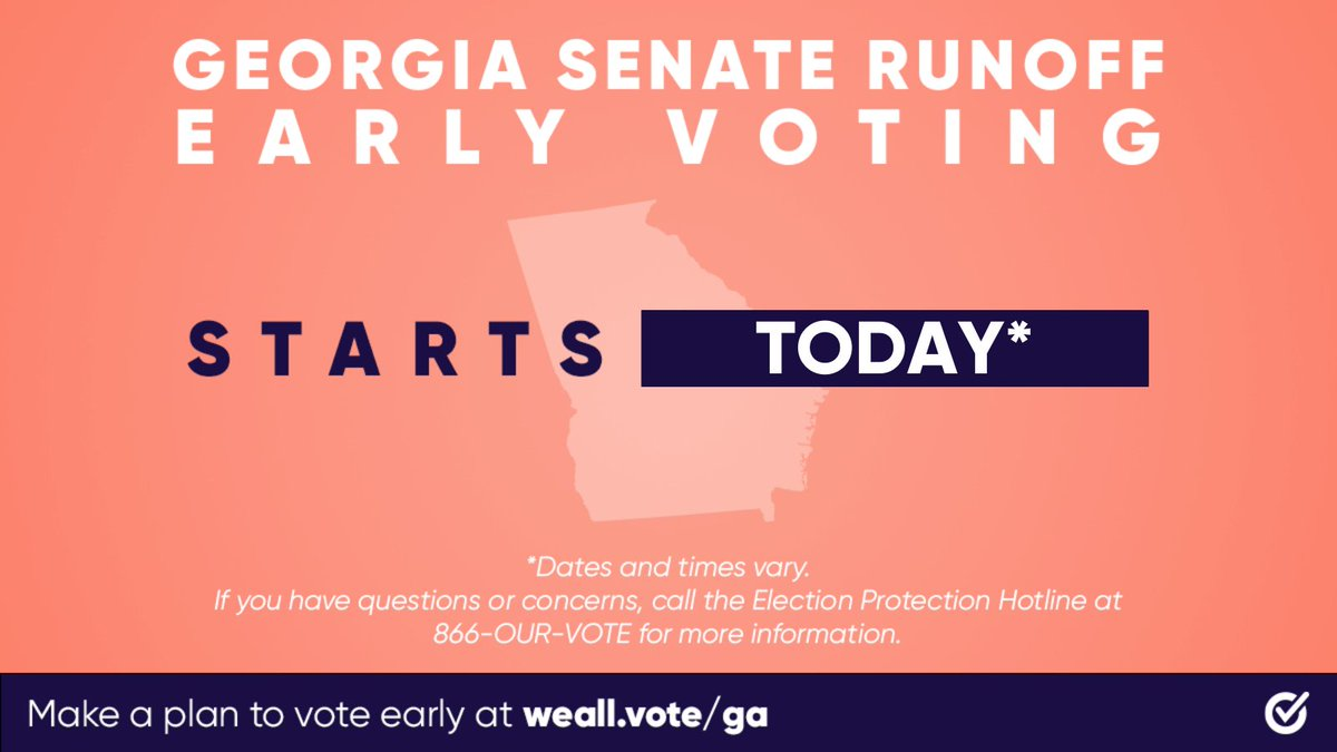 NBA: RT @WhenWeAllVote: Today is the first day of in-person early voting in Georgia's U.S. Senate runoff elections! 🗳️  Bring your pen, mask, and #VotingSquad and get ready to make your voice heard at your local early voting location → …
