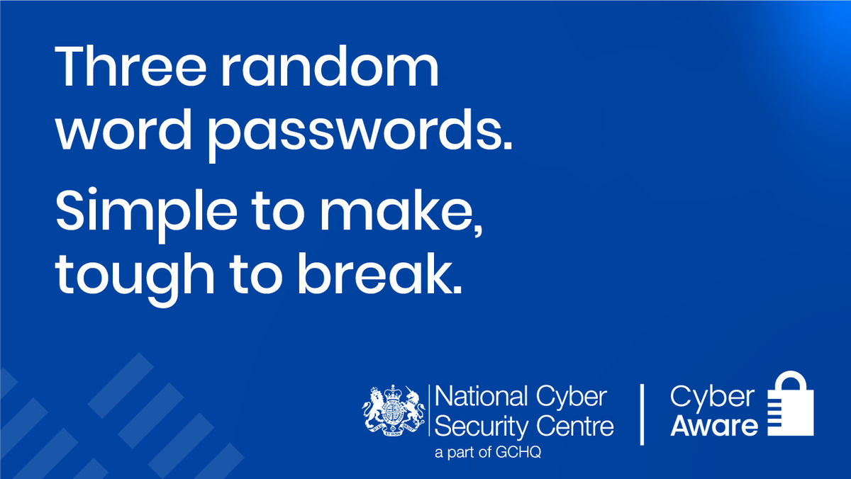 """Step 2: When creating a password @cyberawaregov recommend that you use 3 random words. You can use numbers and symbols as well - for example """"RedPantsTree4!""""   This makes the password safe, unique and memorable. (3/7)"""