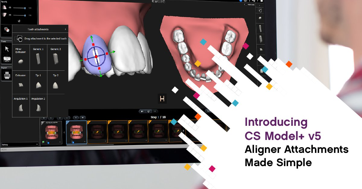 Aligners are made of flexible materials, and the practitioner may need to rely on attachments to thoroughly seat the aligner onto the teeth. With the CS Model+, the software includes a library of extensions. Learn more today: https://t.co/JNi9OW9XXe. #CarestreamDental https://t.co/B6ODkYHuim