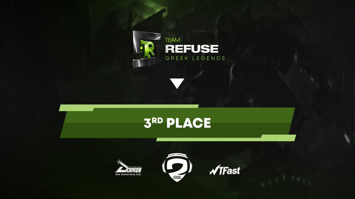 Congratulations to our League of Legends Academy team for finishing 3rd in the first @GRLegends Academy League!  It was a nice trip and we are waiting for the upcoming one!  #Refuse2Lose  @Dombai_Europe | #WTFast