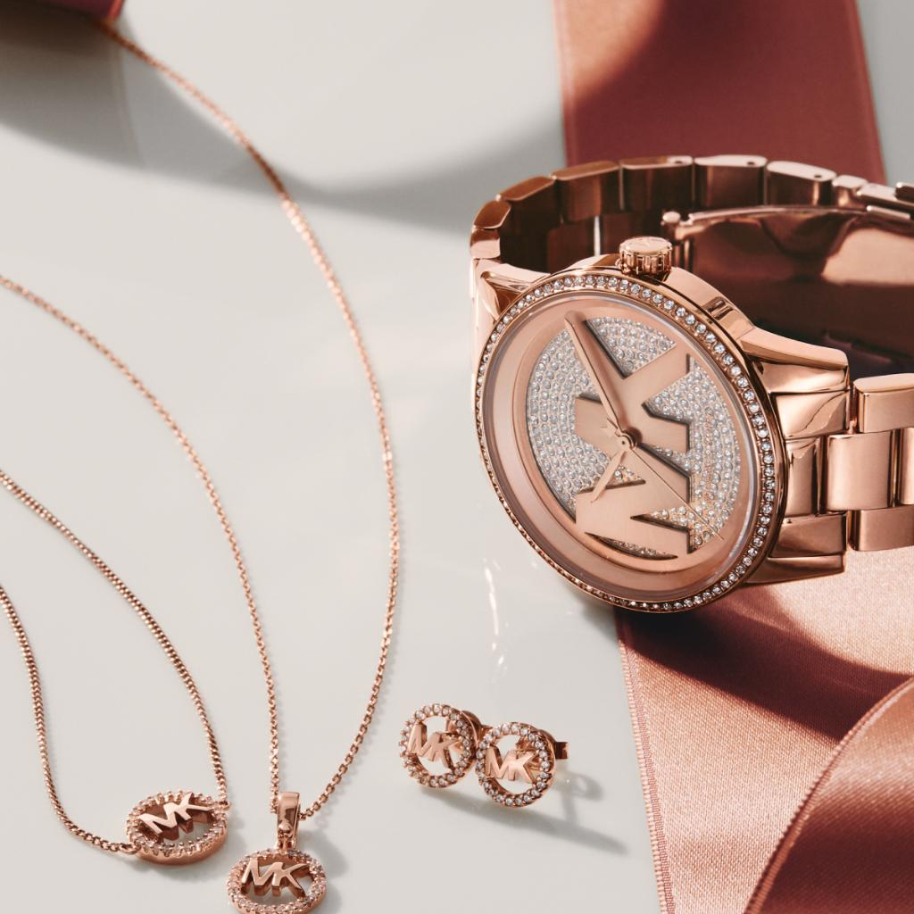 Little gifts, big impact: shop our sparkling rose-gold jewelry today.  #MichaelKors