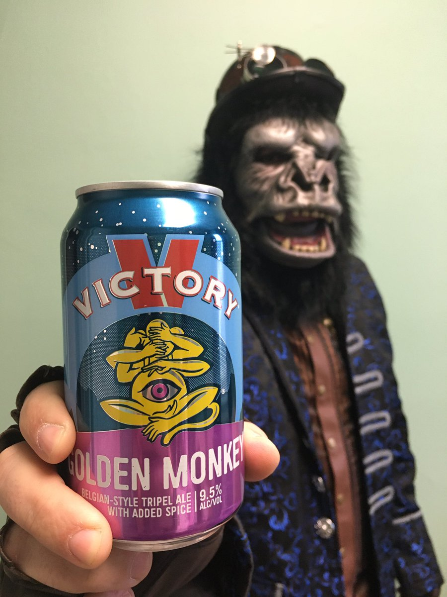 "Steampunk Munky of @BovineNightmare stopped by with a can of @VictoryBeer Golden Monkey to celebrate Monkey Day. Check out his latest video...a cover of Seal's ""Kiss From a Rose""  #MonkeyDay #HappyMonkeyDay #canmuseum"