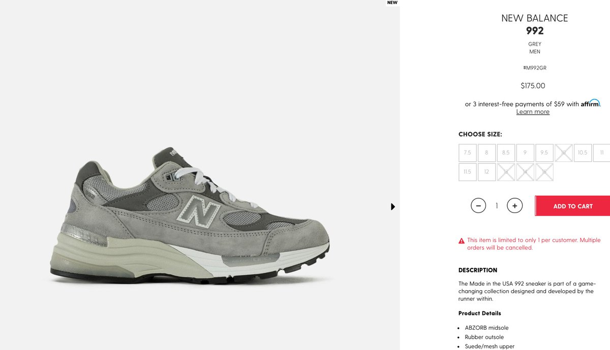 Solelinks On Twitter Ad New Balance 992 Grey On Dtlr Https T Co G5tak6v107 Bio links to sneaker deals, release info, restocks, etc(ps5 + xbox too). twitter