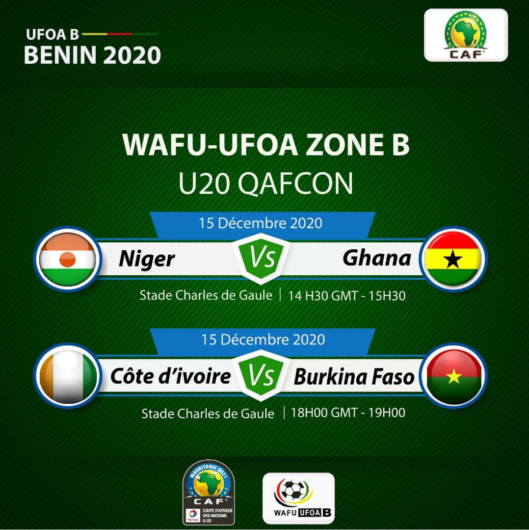 #U20 #Elim CAN 2021 (Tournoi Ufoa-B Benin 2020) :  Demi finales  #Civ vs #Burkina_Faso   Ce Mardi 15 décembre 2020 a 18h00 gmt au stade De Gaules de Porto Novo