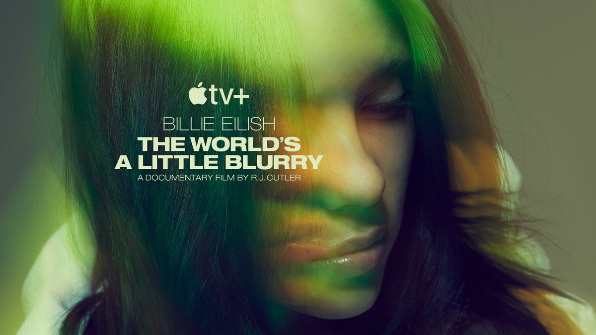"""""""Billie Eilish: The World's A Little Blurry"""" The documentary film Trailer out tomorrow at 9am PT  @appletv"""
