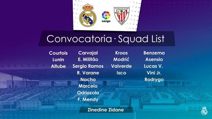 قائمة #ريال_مدريد لمواجهة #بلباو غداً الثلاثاء #RMCity  #HalaMadrid  #RealMadridAthletic  #Zidane #UCLdraw #RMUCL