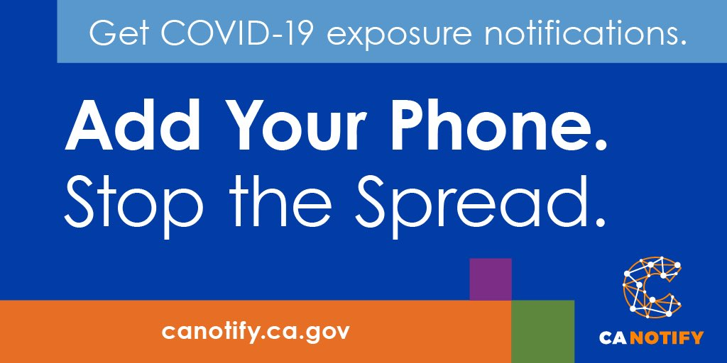 I want to do my part to support frontline workers, my community & loved ones. #AddYourPhone to the #CAnotify app to help protect your community while maintaining your privacy🙌🏽 Please, get COVID exposure alerts & help stop the spread— download the app now: