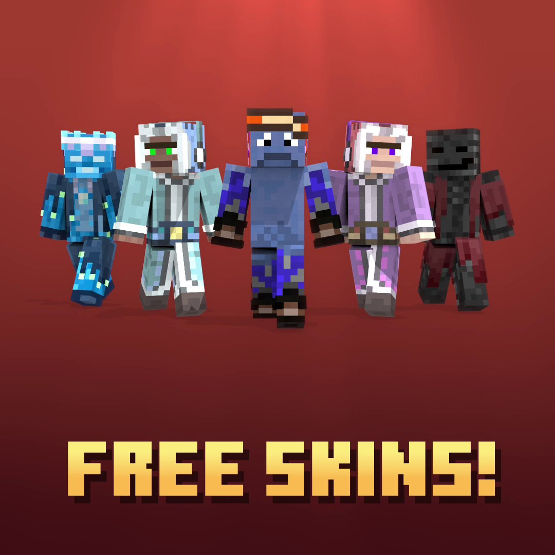 Java players, you're up! Whether you're a skeleton with an attitude; a frost-ready adventurer or a Stray hiding nefarious plans: wear your heart on your sleeve with the free Striding Hero skins by @Mitheyx  – this week's Community Celebration gift!  ↣  ↢