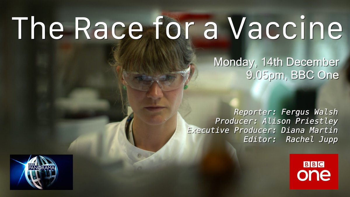 #BBCPanoramas The Race for a Vaccine with @BBCFergusWalsh airs tonight, 9.05pm on @BBCOne. #Oxford #CovidVaccine #COVID19 #coronavirus
