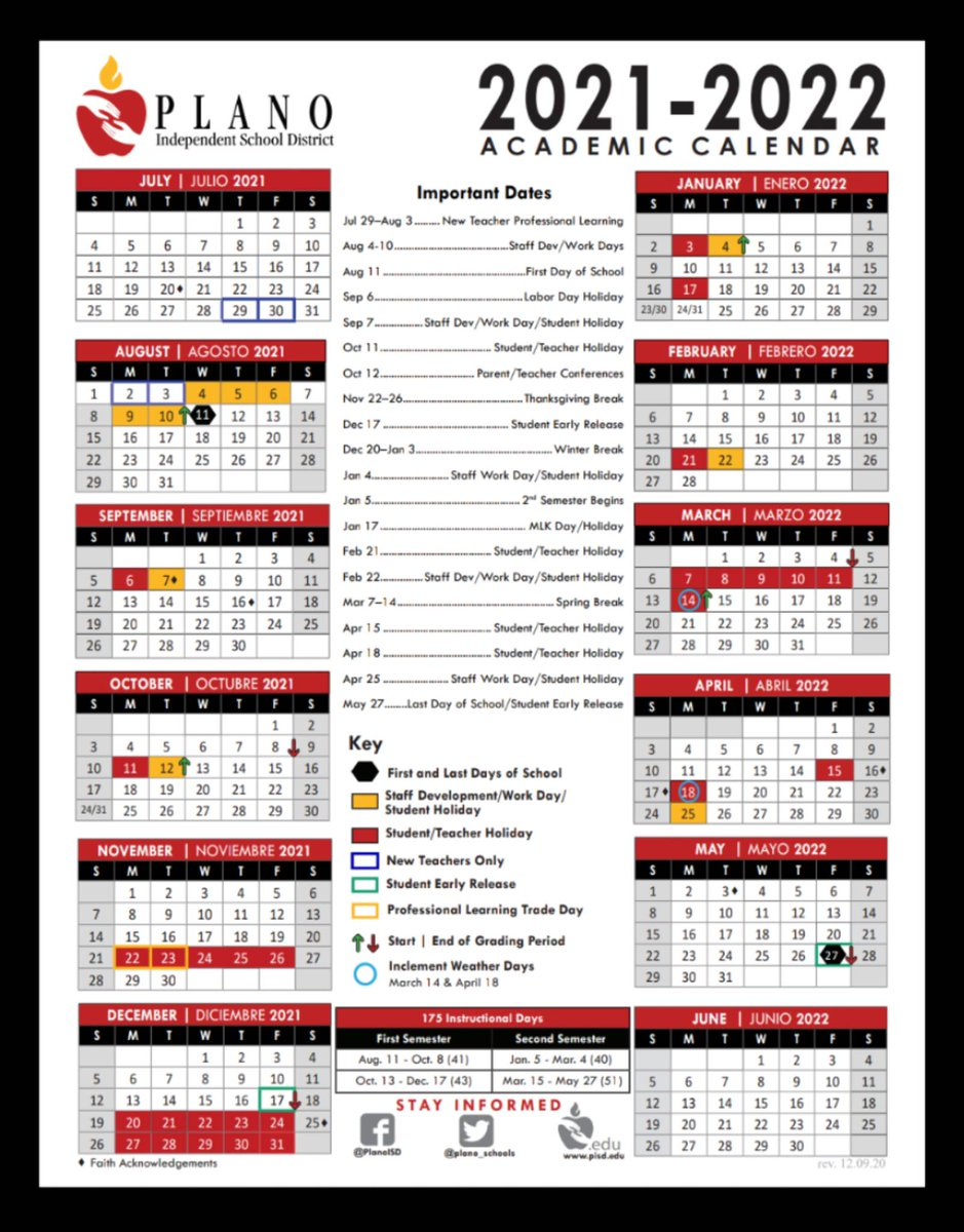 Pisd 2022 Calendar.Planoisd Pta Council On Twitter Here Is The Newly Adopted Calendar For 2021 2022 Https T Co Znk2qus6kb