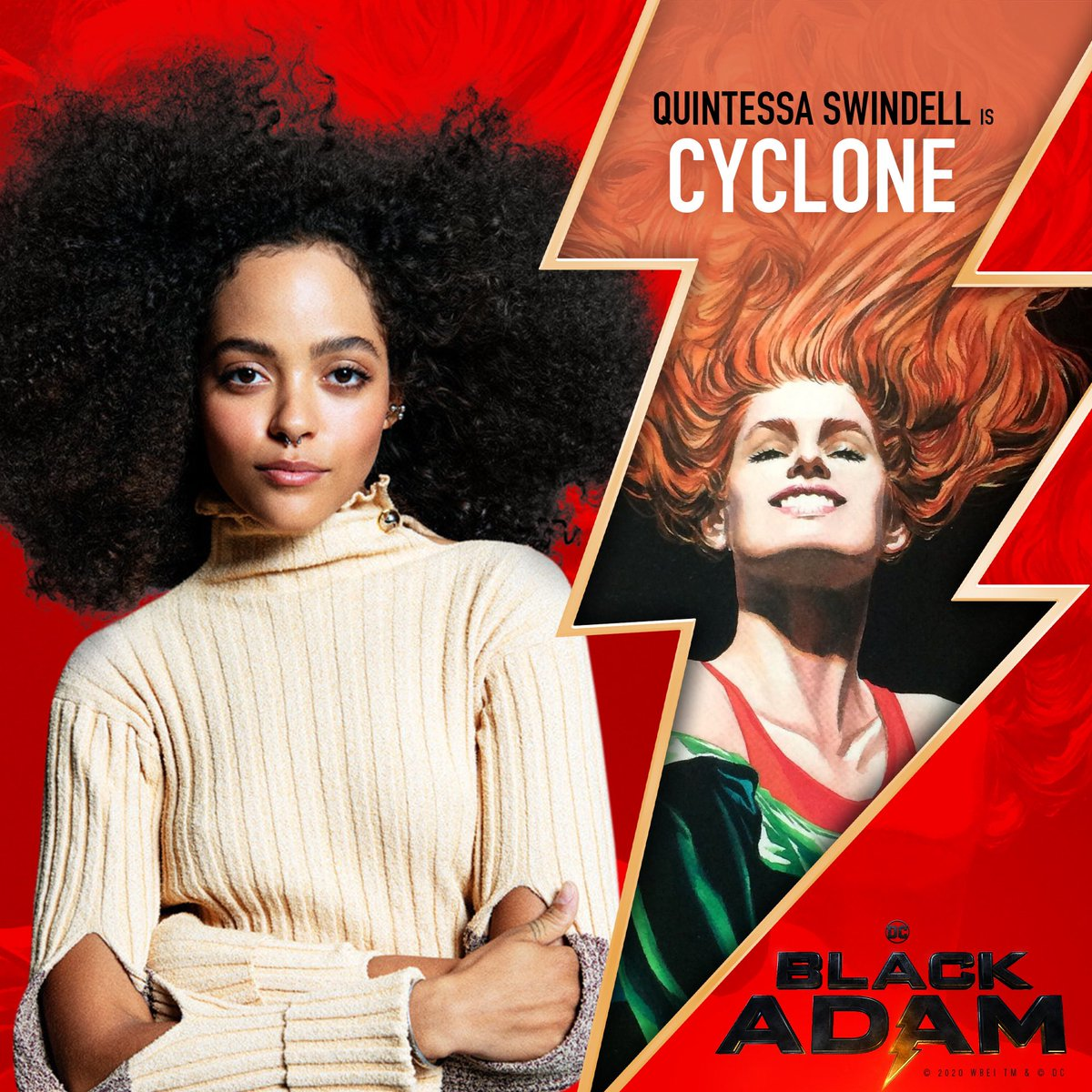 Ready to rumble⚡️💪🏾 A pleasure to officially welcome, Quintessa Swindell to our BLACK ADAM cast.  They'll be taking on the role of CYCLONE.  Can't wait to work with them and we ready to rumble in the DC jungle.  #bringit #cyclone🌪  #blackadam⚡️ Production starts spring 2021