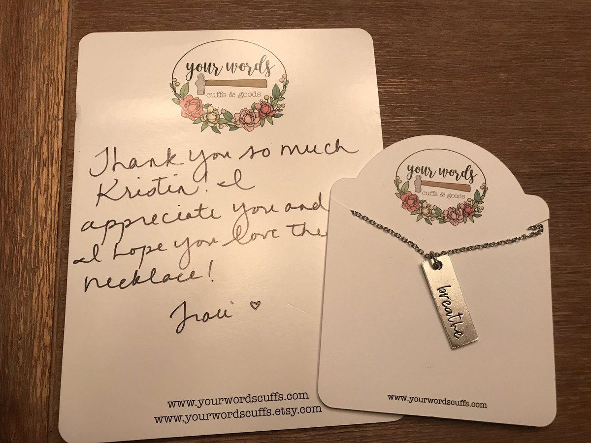 Another nice hand written note this time because I purchased this 'Breathe' necklace as a reminder to do just that when life gets tough. (I should have bought it years ago!) Check out her cute @Etsy shop listed at the bottom of the note.