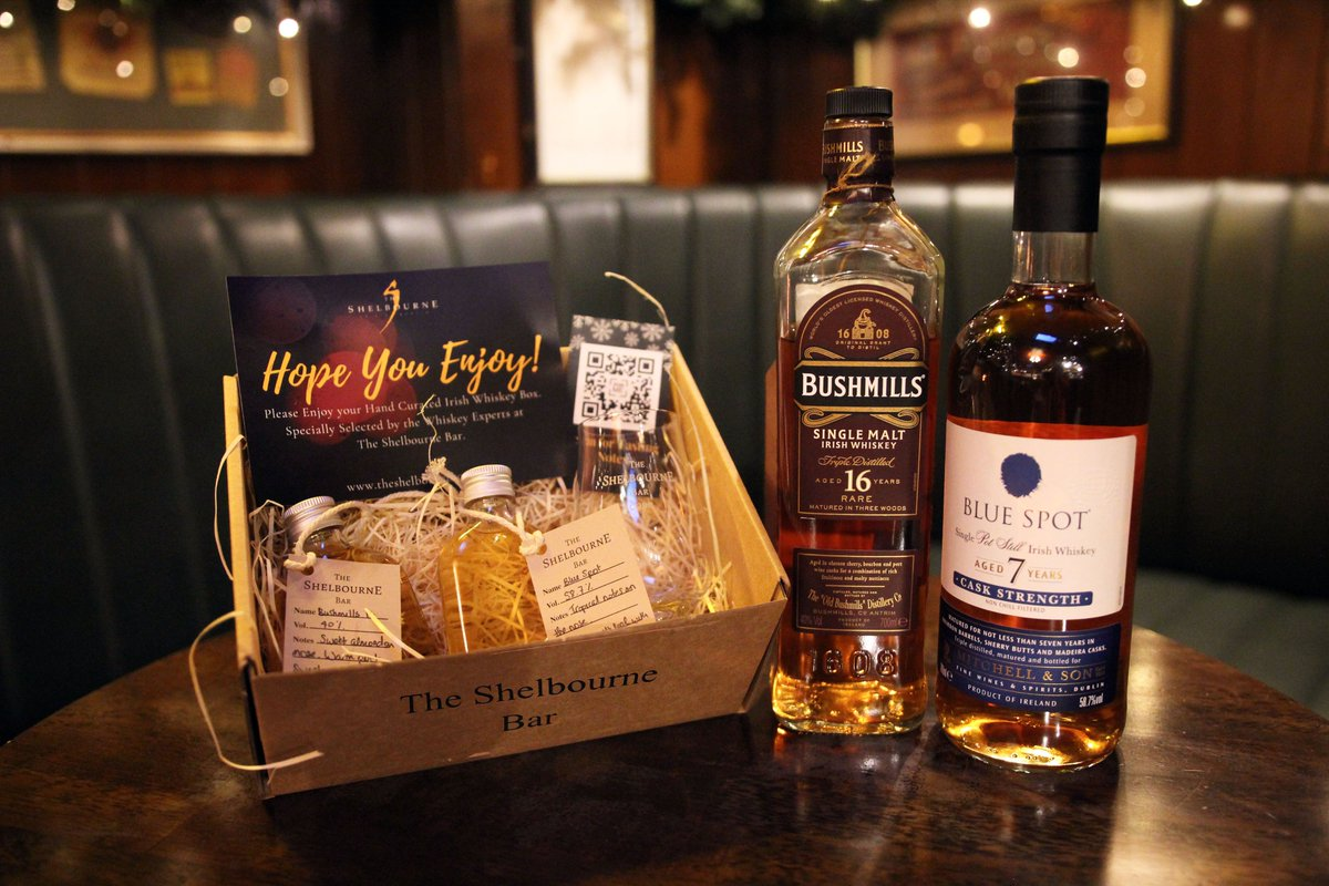 Our Christmas Cracker Irish Whiskey Gift Box is the perfect festive gift!  With Bushmills 16 and Blue Spot, a Glencairn glass, Tasting notes, Tasting video (via QR code) and a festive surprise!  #shoplocalcork  (We highly recommend click and collect)