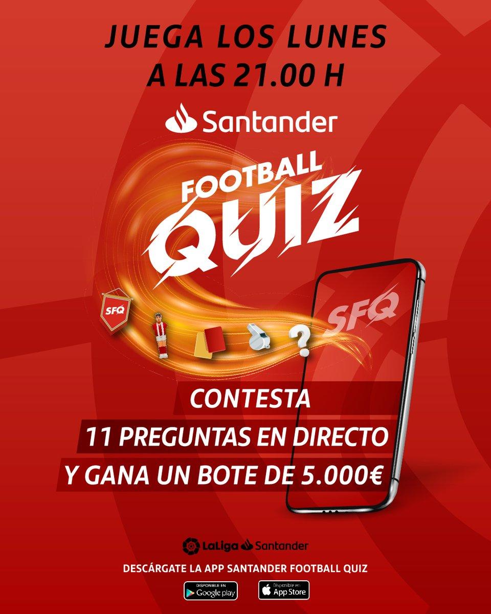 ⚽🤔💰 ¡Contesta 11 preguntas de fútbol en directo y gana un bote de 5.000€!   🗓📝 Todos lunes a las 21:00 horas... ¡Juega al #SantanderFootballQuiz de @santander_es!   📲 Descarga la app:
