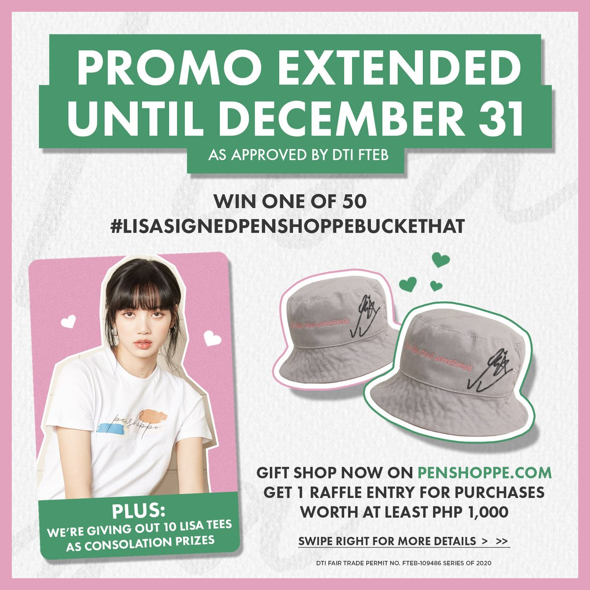 We heard you, fam!! We're extending our #LisaSignedPenshoppeBucketHat Promo until December 31!  More time to get in more raffle entries every time you shop at ! 💛  See 👉 the updated promo deets 👀 or visit this link: