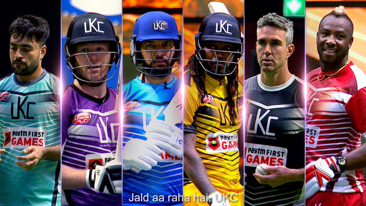 Six global superstars – @YUVSTRONG12, @KP24, @henrygayle, @Eoin16, @Russell12A & @rashidkhan_19 pad-up for this one-of-a-kind #UltimateKricketChallenge that reinvents Cricket in a gladiatorial style!  @UltimateKricket starts 24th Dec on the Star Sports network and Disney+Hotstar