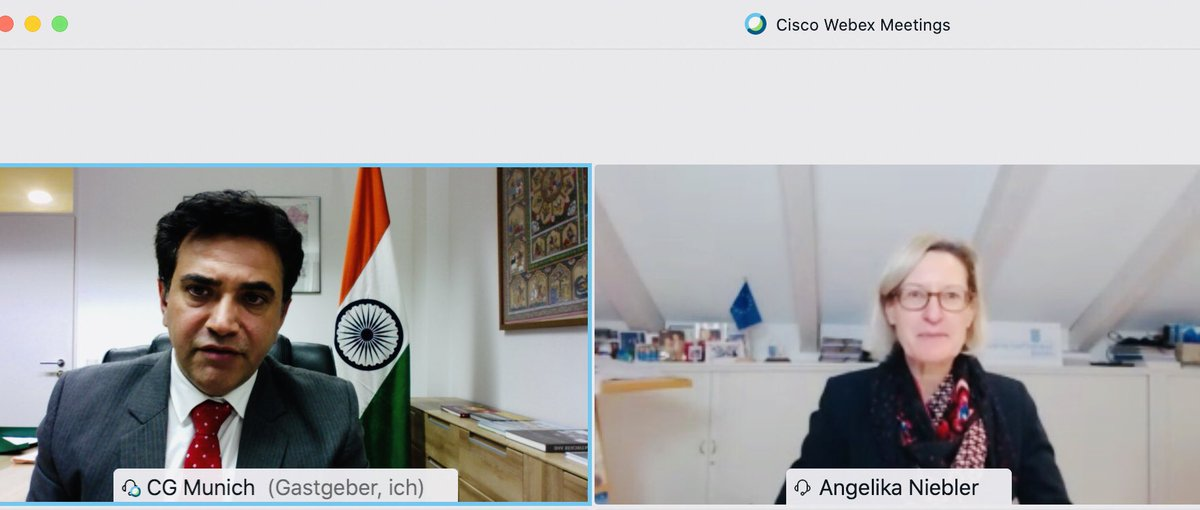 A great beginning with Hon'ble @ANiebler, MEP on 09.12.2020 and discuss #IndiaGermany trade and investments partnership, issue of cross-border terrorism, climate change and how #India would work as pharmacy of the world amidst COVID-19 pandemic