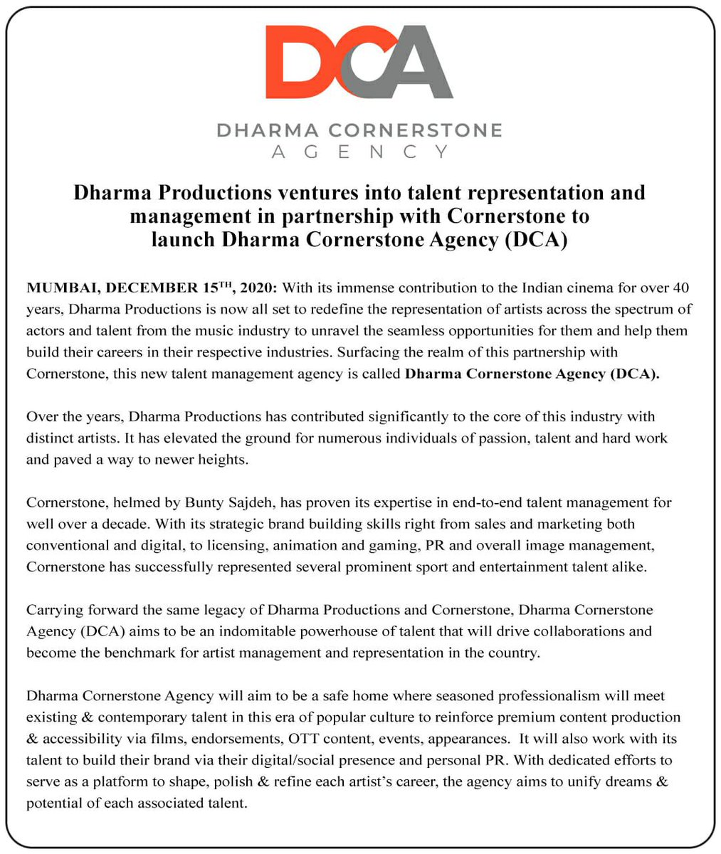 Super delighted to announce our newest venture, a talent management agency, Dharma Cornerstone Agency (DCA).@apoorvamehta18 @buntysajdeh