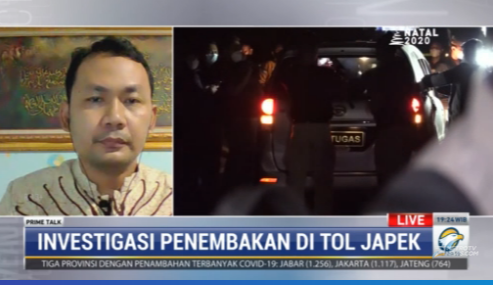 #PrimeTalkMetroTV Ridlwan Habib (pengamat intelijen): pautut diingat, polisi saat itu bukan dalam misi penangkapan Habib Rizieq. Mereka tidak bawa borgol dan tidak berniat menyerang. Mereka niat awalnya adalah melakukan penguntitan.  Streaming: