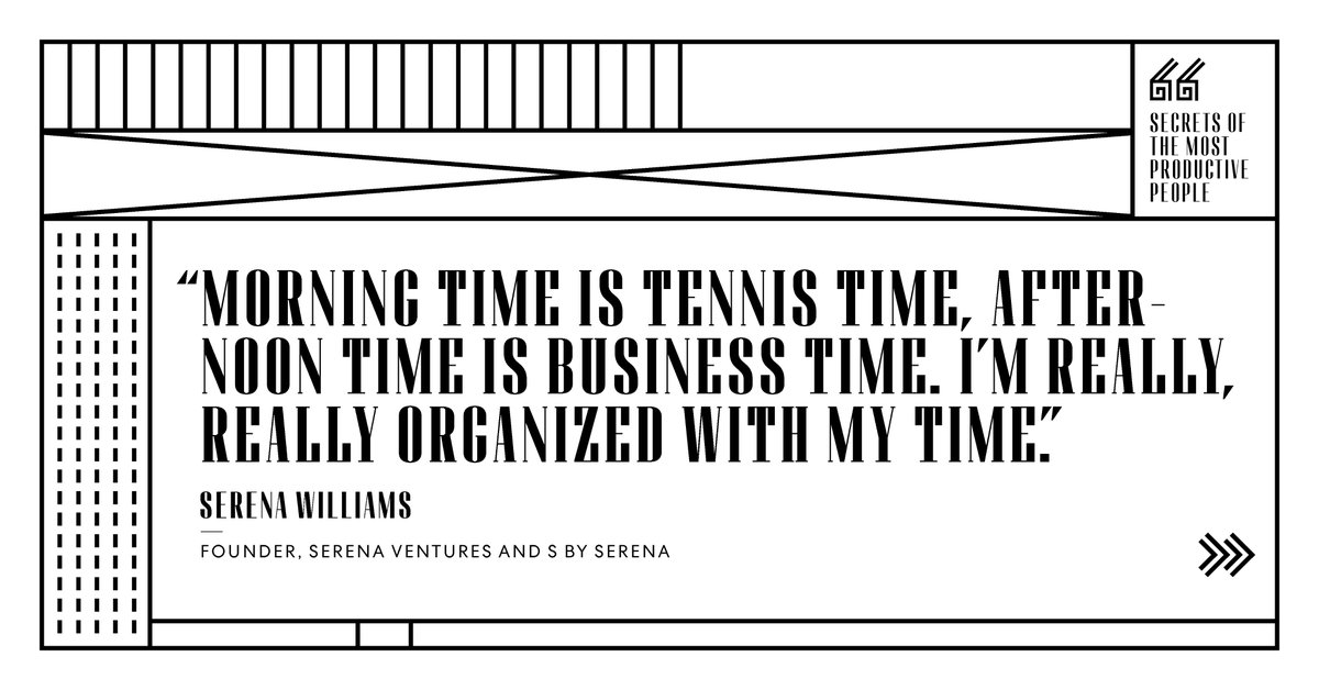 The piece of equipment @serenawilliams might value most is @toggltrack, an app that helps her track her time, breaking down what percentage of each day goes to the 3 things that consume her most: family, business, and, of course, tennis.