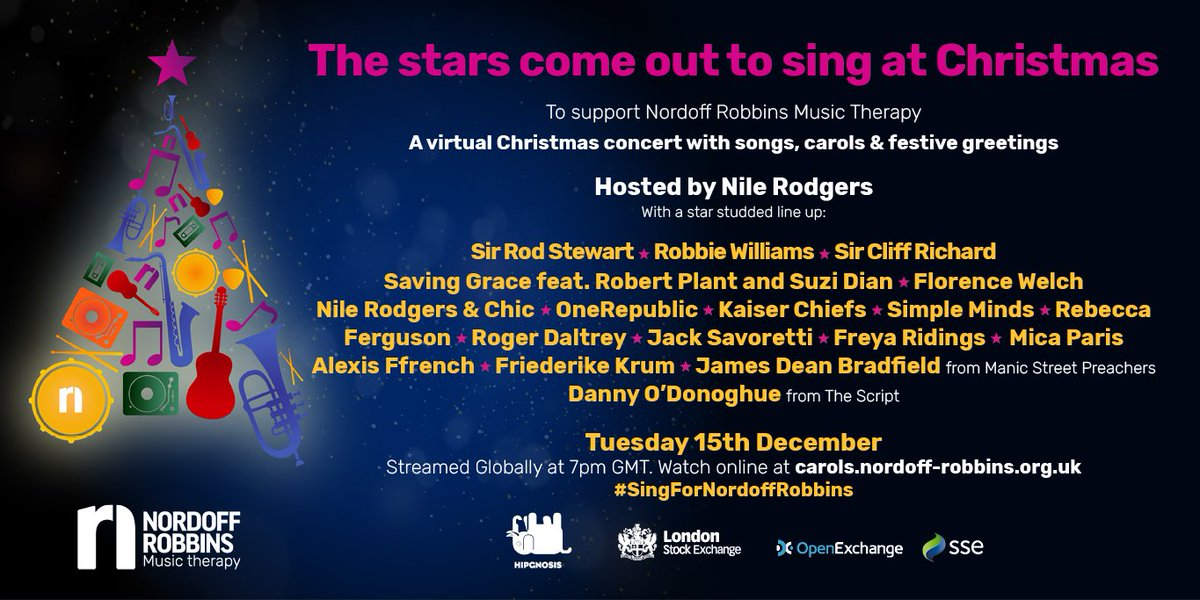 Our friends at Nordoff Robbins Music Therapy are having a huge Christmas event tonight from 7pm. After what's been a tough year, let's virtually get together to sing and be merry while raising money for a charity close to our hearts. Register and watch at
