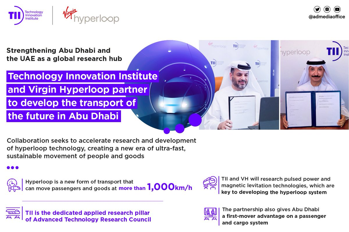 Technology Innovation Institute and Virgin Hyperloop have partnered to accelerate research and development of hyperloop technology, creating a new era of ultra-fast, sustainable movement of people and goods in Abu Dhabi, the UAE and beyond.