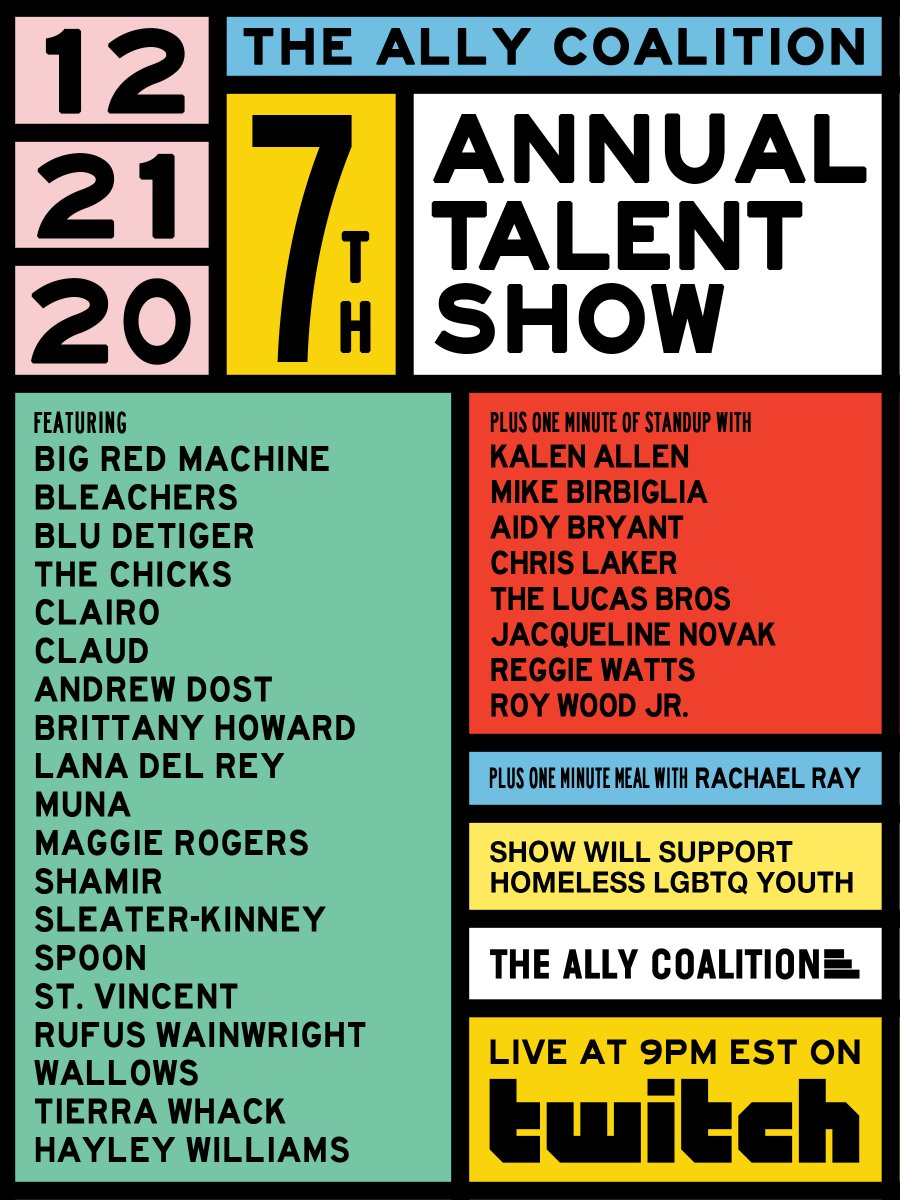 We're excited to be a part of @allycoalition's 7th Annual Talent Show in support of LGBTQ Youth. Join us & @jackantonoff on 12/21 at 9pm ET, on @twitch.  Link to RSVP:   Link to Take Action: