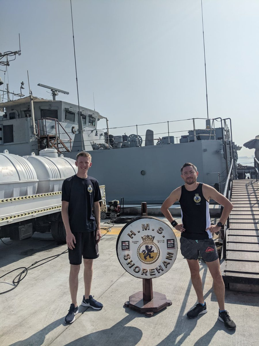 Our CO, Lt Cdr. Rich Kemp and AB(MW) Adam Cross recently took part in #rnpassthebaton challenge, running for 30 minutes to promote #covidfitness and the #NavyFit attitude. Well done to everyone who participated! @NAVYfit @RoyalNavy @RNRMC #smallshipsbigimpact #virtualrelay