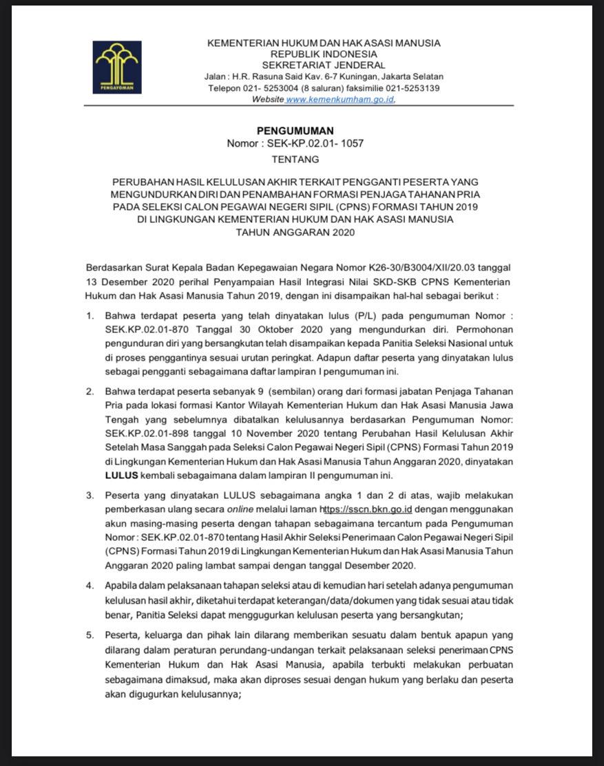 11+ Pengumuman cpns kemenkumham lampung 2019 pdf ppdb 2021