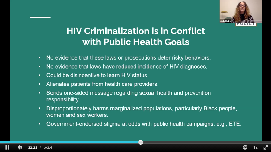 WATCH CHLP's Jada Hicks in this #WAD2020 webinar hosted by the Smithsonian National Museum of American History w Gregorio Millett of amfAR on how law & policy affect the success or failure of the public health response to HIV.